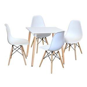 Jedálenský stôl 80x80 UNO biely + 4 stoličky UNO biele