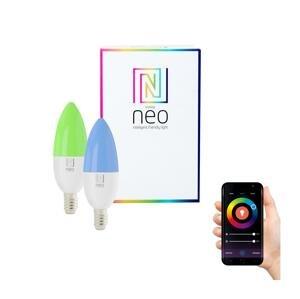 Immax LED žiarovka Neo E14 5W RGB 2ks LED žárovka, teplá biela + RGB, stmívatelná, 400lm