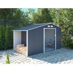 Záhradný domček s prístreškom L sivá Dekorhome