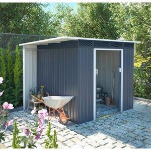 Záhradný domček s prístreškom CH sivá Dekorhome