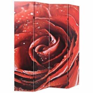 Paravan červená ruža Dekorhome 160x170 cm (4-dielny)