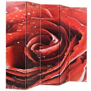 Paravan červená ruža Dekorhome 200x170 cm (5-dielny)