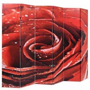 Paravan červená ruža Dekorhome 228x170 cm (6-dielny)