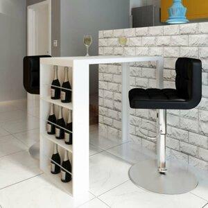 Barový stôl s regálom biela vysoký lesk Dekorhome