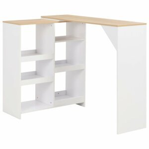 BBarový stôl s regálom Dekorhome Biela / dub