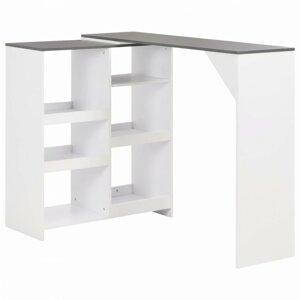BBarový stôl s regálom Dekorhome Biela / sivá