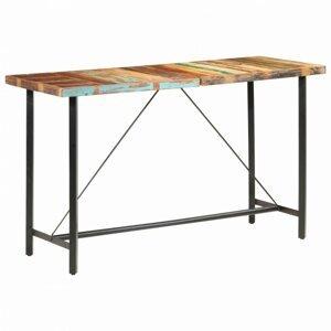 Barový stôl masívne drevo / oceľ Dekorhome Recyklované drevo