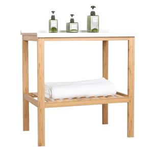 Stolík do kúpeľne SELENE TYP 5 bambus / biela Tempo Kondela