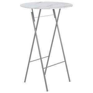 Skladací barový stôl 80 cm biela / strieborná Dekorhome