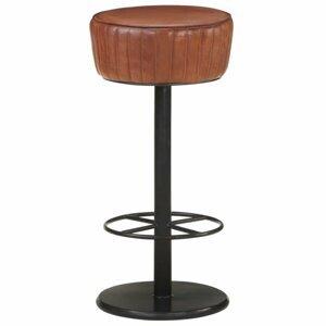 Barová stolička pravá koža / oceľ Dekorhome Hnedá