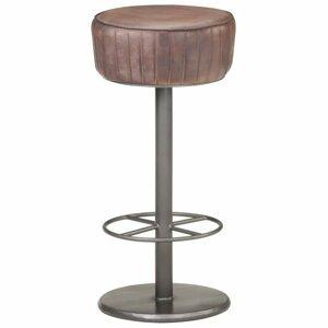 Barová stolička pravá koža / oceľ Dekorhome Tmavohnedá