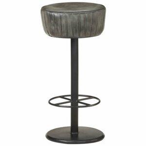 Barová stolička pravá koža / oceľ Dekorhome Sivá