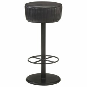 Barová stolička pravá koža / oceľ Dekorhome Čierna