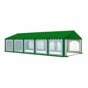 Záhradný párty stan 5x10m PREMIUM Biela / zelená (strecha zelená)