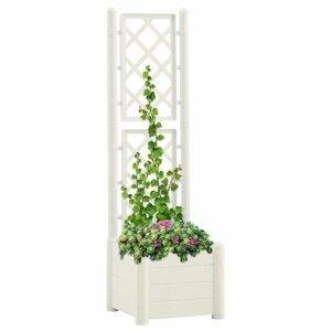 Záhradný kvetináč s treláží 43 x 43 x 142 cm PP Dekorhome Biela