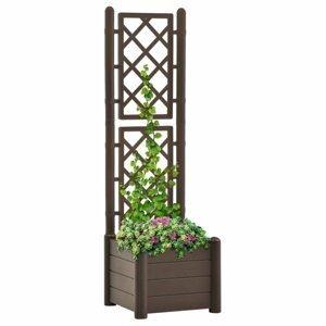 Záhradný kvetináč s treláží 43 x 43 x 142 cm PP Dekorhome Cappuccino