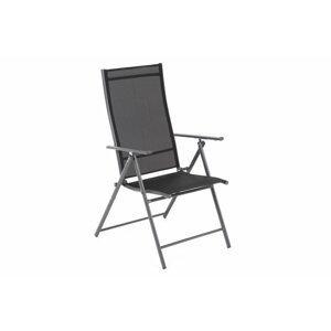 Skladacia záhradná stolička oceľ / textilen Čierna / sivá