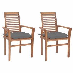 Záhradná jedálenská stolička s poduškou 2 ks teak Dekorhome Sivá