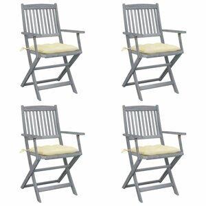 Skladacia záhradná stolička s poduškami 4 ks akácie Dekorhome Krémová