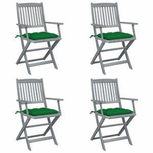 Skladacia záhradná stolička s poduškami 4 ks akácie Dekorhome Zelená