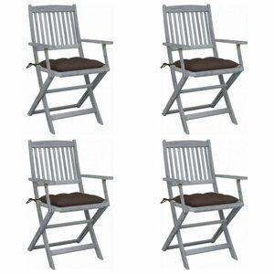 Skladacia záhradná stolička s poduškami 4 ks akácie Dekorhome Sivohnedá