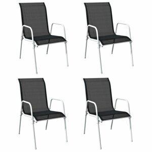 Stohovateľné záhradné stoličky 4 ks oceľ / textilen Dekorhome Čierna / sivá