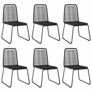 Záhradné stoličky 6 ks čierna Dekorhome