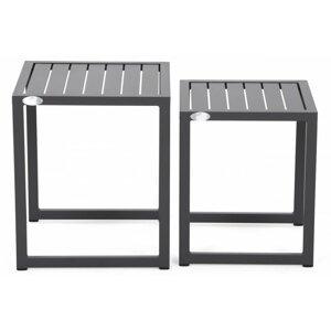 Sada záhradných stolíkov hliník Sivá