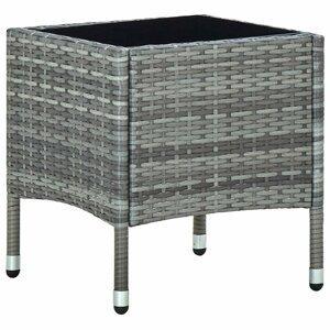 Záhradný konferenčný stolík polyratan / sklo Dekorhome Sivá