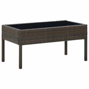 Záhradný konferenčný stolík polyratan / sklo Dekorhome Hnedá