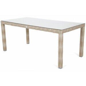 Záhradný stôl 180 cm polyratan / sklo Krémová