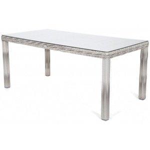 Záhradný stôl 180 cm polyratan / sklo Svetlosivá