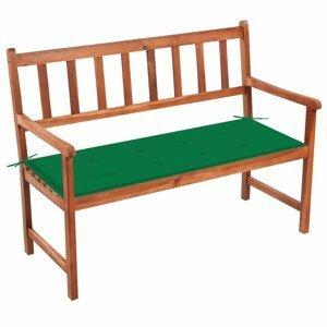 Záhradná lavica s poduškou 120 cm Dekorhome Tmavo zelená
