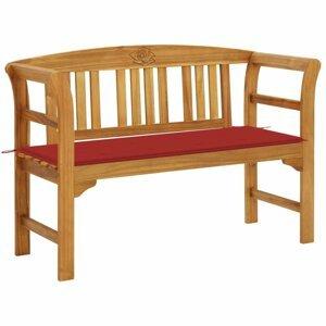 Záhradná lavica s poduškou 120 cm Dekorhome Červená
