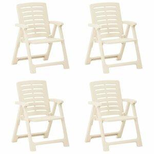 Skladacia záhradná stolička 4 ks plast Dekorhome Biela