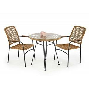 Záhradný stôl FALCON prírodná / čierna Halmar