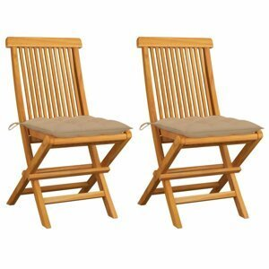 Skladacia záhradná stolička s poduškami 2 ks teak Dekorhome Béžová