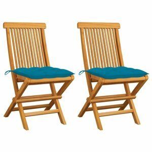 Skladacia záhradná stolička s poduškami 2 ks teak Dekorhome Svetlo modrá