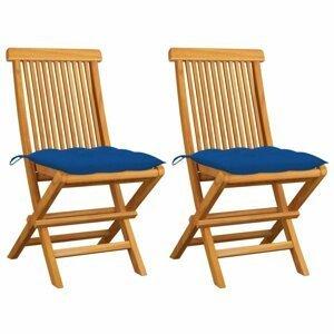 Skladacia záhradná stolička s poduškami 2 ks teak Dekorhome Modrá