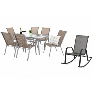Záhradný jedálenský set 6+1 ks s hojdacím kreslom textilen / oceľ / sklo Strieborná / taupe