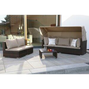 Záhradná sedacia súprava 4 ks umelý ratan / látka