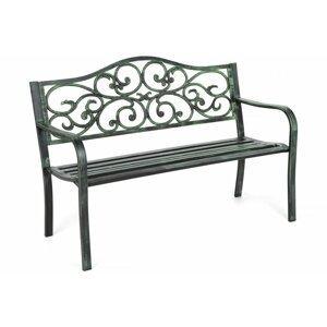 Záhradná lavička s patinou oceľ / liatinový ornament Zelená