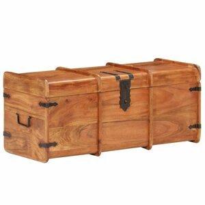 Úložná truhla masívne drevo / kov Dekorhome Hnedá