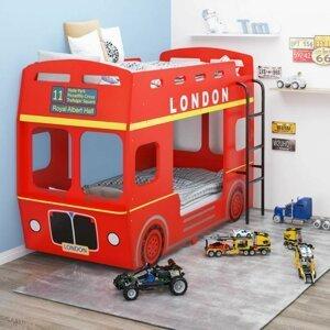 Detská posteľ červený autobus Dekorhome