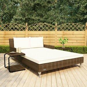 Záhradná posteľ s poduškou a stolíky Dekorhome