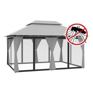 Záhradný altánok s moskytiérou 3x4 m Sivá