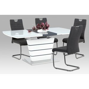 Jedálenský stôl rozkladací HT-465 WT biela lesk / nerez Autronic