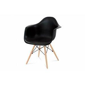 Jedálenská stolička CT-719 plast / drevo Čierna