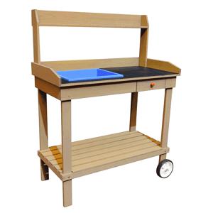 Záhradný pracovný stôl BARDY drevo Tempo Kondela Hnedá