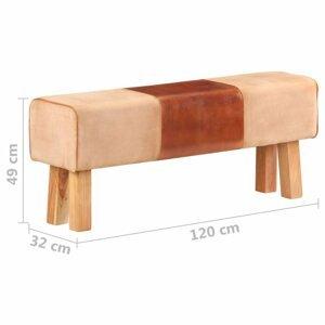 Lavica pravá koža / drevo Dekorhome 120 cm